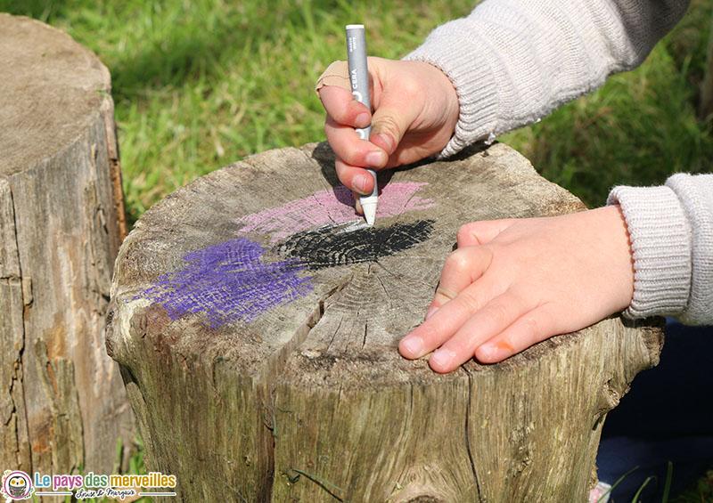Dessin sur du bois avec des pastels