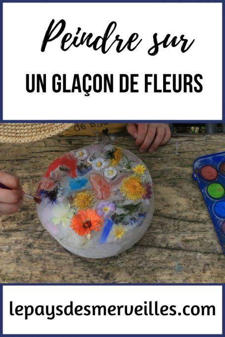 Peindre sur un glacon de fleurs