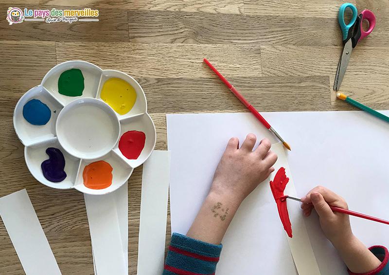 Peindre des bandes de papier