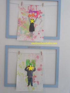 Peinture avec des bulles : photo et initiale de l'enfant