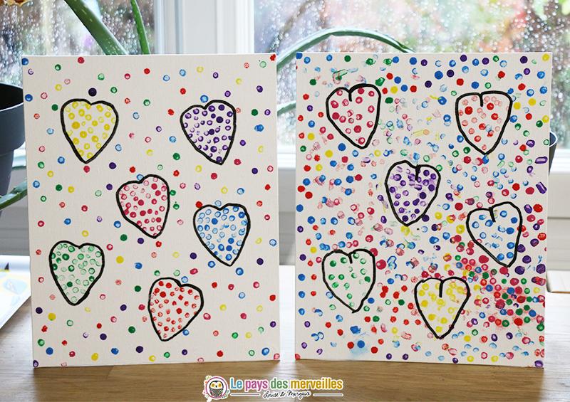 Tableau de coeurs peints avec un coton-tige