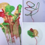peindre des fleurs avec une ficelle dans un livre
