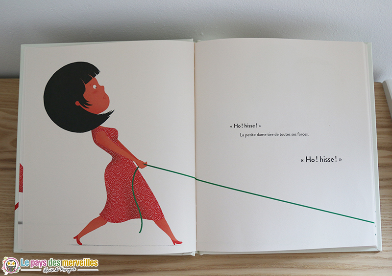 petite dame qui tire le fil vert