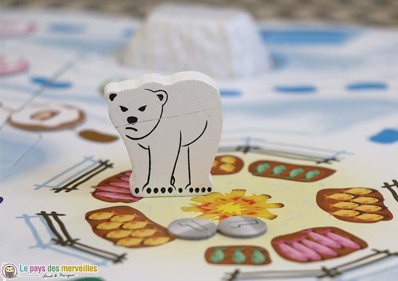 Pion ours polaire en bois
