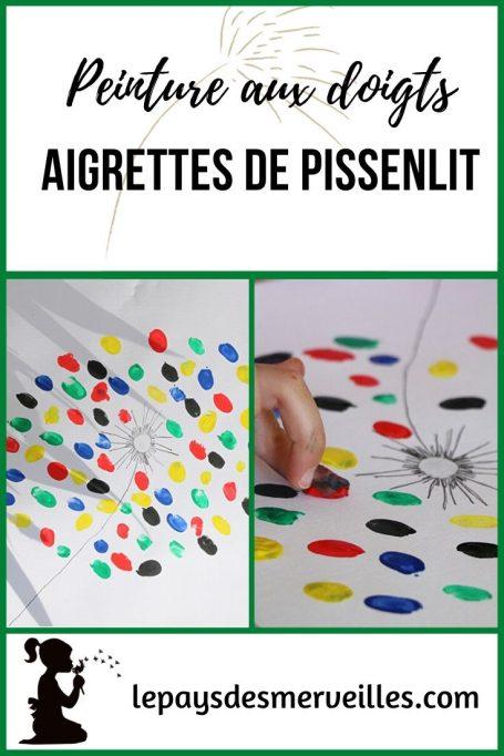 Aigrettes de pissenlit peintes avec les empreintes de doigts