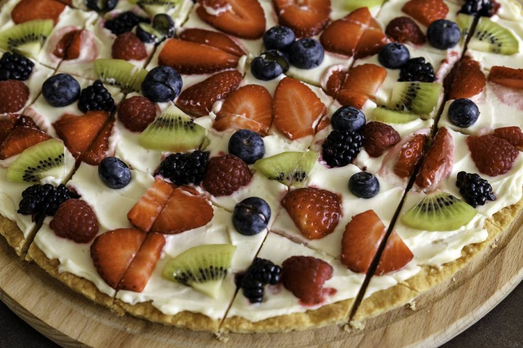 Pizza sucrée au fruit et mascarpone