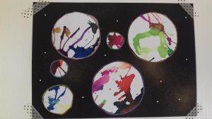 planètes peinture soufflée