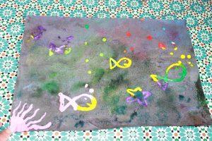 activité poisson d'avril avec du drawing gum