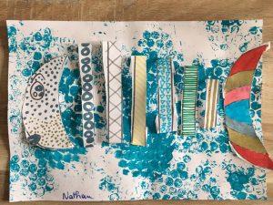 poisson peinture papier bulle