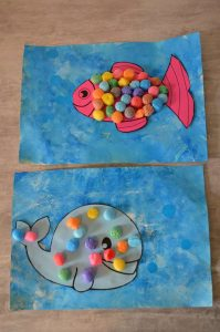 Poissons en collage de Playmaïs