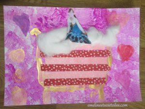 Peinture et collage La princesse au petit pois