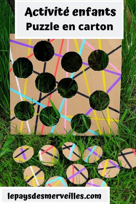 Activité enfant un puzzle fabriqué avec du carton