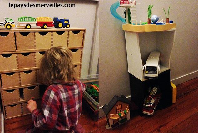 Rangement des Playmobil dans des petites cases en bois