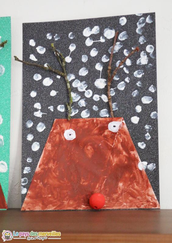 Activité art visuel renne de Noël maternelle