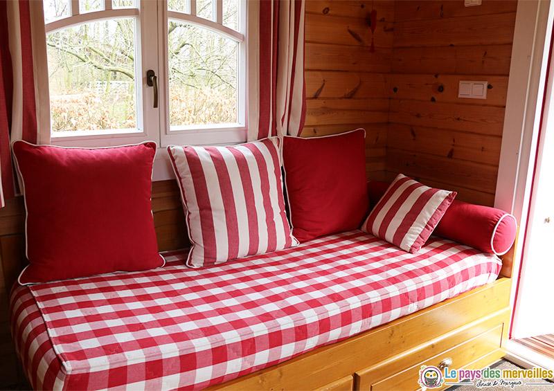 canapé lit de la roulotte
