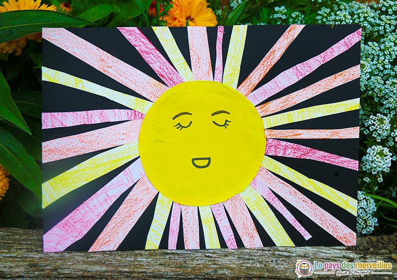 Soleil avec coloriage, découpage et collage de bandes de papier