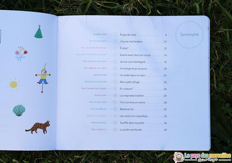 """Sommaire du livre-cd """"Mes petits moments de relaxation"""""""