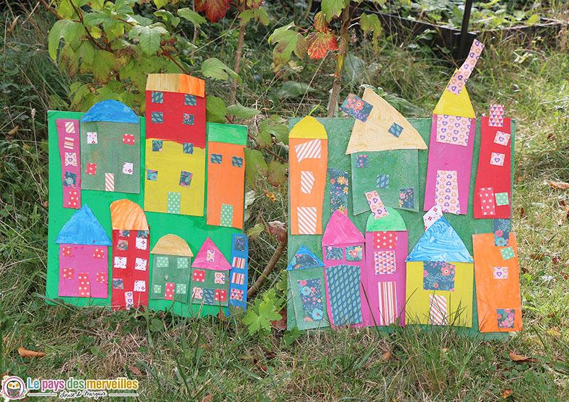 Tableau maisons en carton