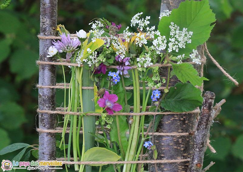 tissage végétal fleurs et feuilles