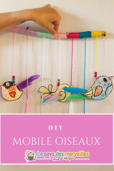 DIY mobile oiseaux en laine et peinture