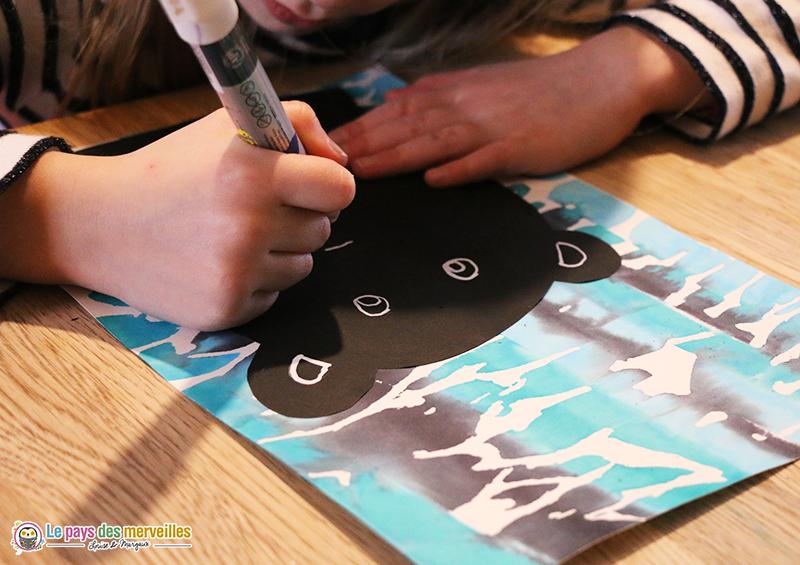 dessiner un un visage d'ours au feutre noir