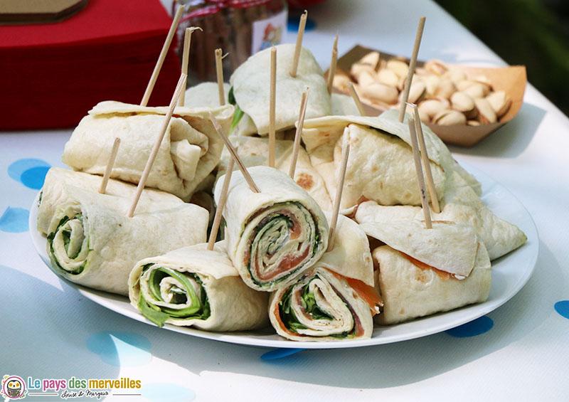 Wraps saumon et végétarien